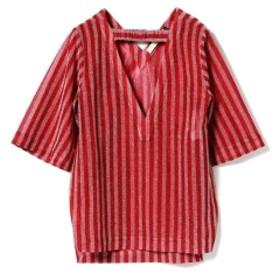 JAMIE WEI HUANG / TING Vネック トップ レディース Tシャツ RED STRIPE 8