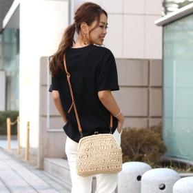 ショルダーバッグ - REAL STYLE 雑材 がま口 ショルダーバッグ レディース ショルダー がまぐち がま口バッグ かごバッグ ストローバッグ ミニバッグミニショルダー斜め掛け 斜めがけ 小さめ 小さい 軽量 軽い 旅行 リゾート 夏 韓国ファッション