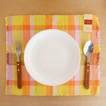 【裂き織】春色ランチョンマット オレンジチェック柄限定2枚セット 手織り