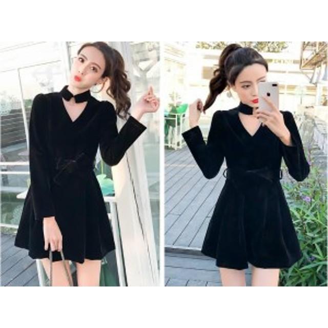 ベルベットワンピースドレス 2種 スカートタイプ キュロットタイプ ブラック 長袖 Vネック チョーカーデザイン おしゃれ きれいめ