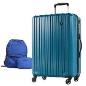 スーツケースPC7258(軽量) Mサイズ ビリジアンブルー+折りたたみリュック(ブルー)