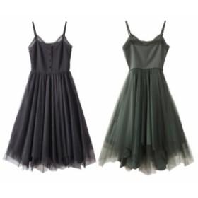 サマードレス キャミワンピース フレアースカート アシンメトリー 2色 ブラック グリーン 無地 お嬢様 エレガント 上品 レース ロング