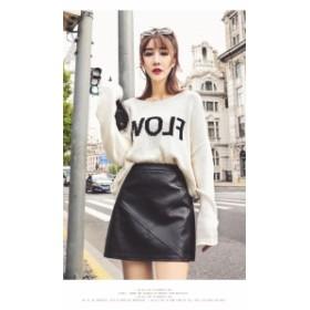 レザースカート ブラック 無地 スリムAライン 台形 ミニスカート 合皮 切り替えデザイン カッコ可愛い キュート ハード きれいめ