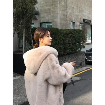 【送料無料】 限定SALE インスタでも話題♪ 韓国ファッション CHIC気質 お洒落に暖かく フェイクファーコート 女性 ルーズ 秋冬 もふもふ暖かいボリュームファーコート