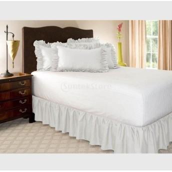 Perfk 寝具カバー 弾性バンド ベッドエプロン ベッドスカート ピュアカラー 全5色4サイズ - 白, 120cmx200cm + 38cm