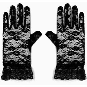 手袋 - GIRL 手袋 グローブ レディース 結婚式 パーティー 二次会 謝恩会 食事会 披露宴 発表会 演奏会 パーティ 女性用 ブラック 黒 レース レース手袋 花柄 花 柄 フラワー 透け感