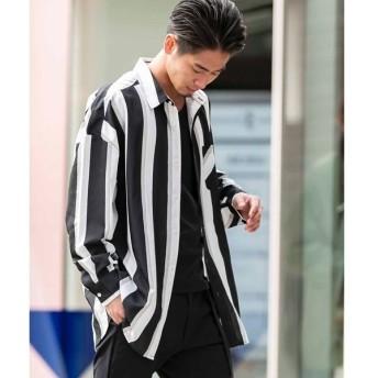 [マルイ]【セール】ポリエスタル ストレッチ / オーバーサイズ ビッグ ストライプシャツ(長袖)/A・S・M(A.S.M)