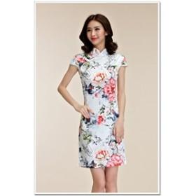 半袖 レディース ワンピース チャイナドレス きれいめ 白 M L LL 3L 4L 大きいサイズ