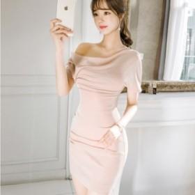 エレガントドレス ワンショルダー スリム 美ライン セクシーワンピース マイクロミニ 半袖 上品 ピンクベージュ 上品 タイトスカート