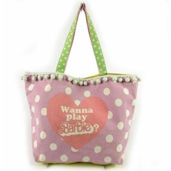 【中古】バービー Barbie トートバッグ ハンドバック レース キャンバス スター 星 ストライプ ドット ピンク 白 黄色 紫 緑