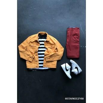 デニムジャケット - FOREVER 21【MEN】 【フロントポケットデニムジャケット】アウター ジャケット 黄色 イエロー XS S M L ストリート f21 ジージャン 長袖