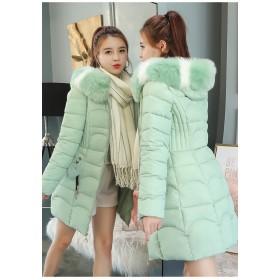 レディースファーフード付き小顔効果 コートジャケット ファーダウン棉フード 暖かい厚手コートアウター 棉服 軽量コート 中綿コート 防寒 ロングコート