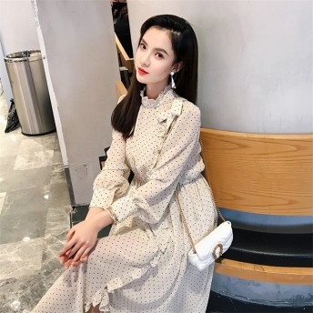 大人の魅力 上品 女性らしい 韓国ファッション 2019春 新 ドット柄 ワンピース フリル レトロ スリム 中・長セクション ドレス