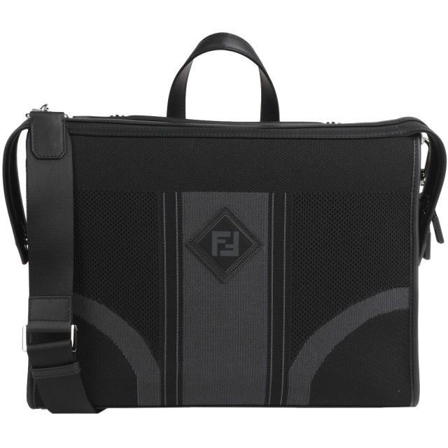 《9/20まで! 限定セール開催中》FENDI メンズ ブリーフケース ブラック 紡績繊維 / 牛革(カーフ)
