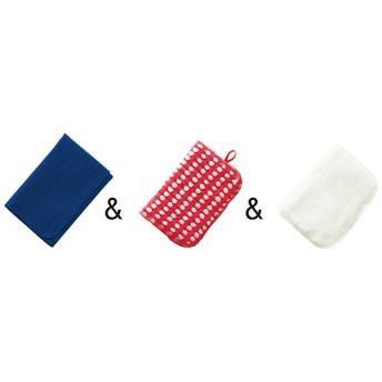 50%OFF役立ちクロスお試しセット(3枚組) - セシール ■カラー:ブルーマルチクロス+レッドスポンジ+ホワイトボアクロス