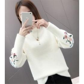 お手頃な価格 韓国ファッション CHIC気質 春秋新作 ゆったりする 防寒 暖かい ボトミング ニットトップス
