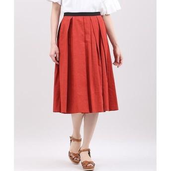 INED L / イネド(エルサイズ) 《大きいサイズ》リネン素材フレアスカート