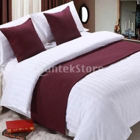 寝室のホテルの結婚式のワインレッド-50x210cmのためのリネンの綿のベッドランナーのスカーフ