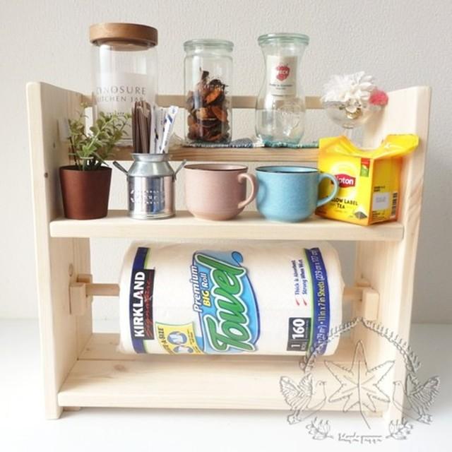 スパイスラックMaki2 無塗装 無垢材 調味料 ラック インテリア 台所 キッチン 収納 小物入れ