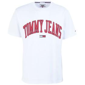 《期間限定 セール開催中》TOMMY JEANS メンズ T シャツ ホワイト S コットン 100% TJM COLLEGIATE LOGO