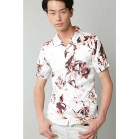 【50%OFF】 トルネードマート TORNADO MART∴オーキッドプリント半袖クラッシュプリーツシャツ メンズ レッド L 【TORNADO MART】 【セール開催中】