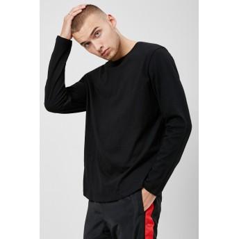 カットソー - FOREVER 21【MEN】 【カーブヘムクルーネックトップ】無地 シンプル グレー 赤 レッド 黒 ブラック XS S M L 長袖tシャツ