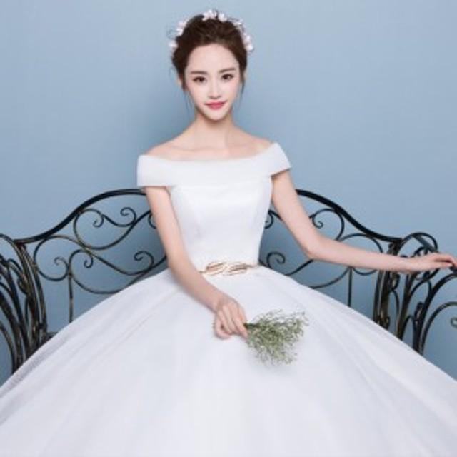 韓国風新品レディースウェディングドレス二次会パーティードレス シンプルドレス 司会者ふわふわ撮影写真プリンセス結婚式披露宴花嫁