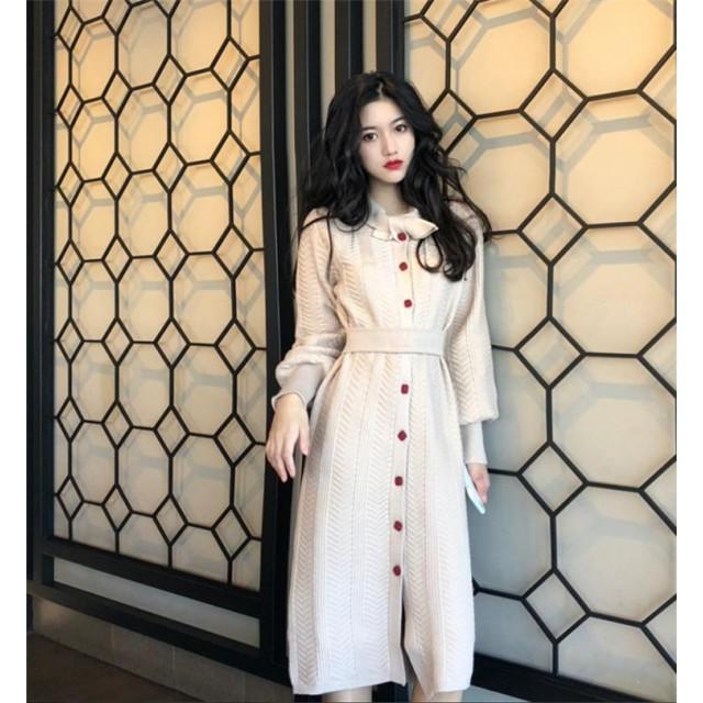[55555SHOP] シックな雰囲気が魅力 気質 ヴィンテージ 長袖 細ベルトつき ボトミングドレス ニットワンピース