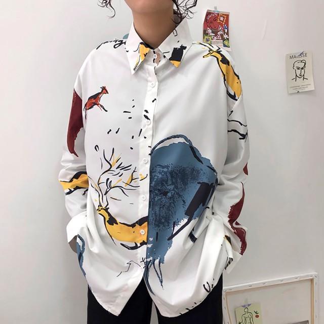 ef5b73e3de4 シャツ - DearHeart ★トレンドファッション♪ユニーク柄襟付 ...