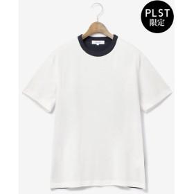 【PLST】ART FACT ニットコンビトリムTシャツ Men