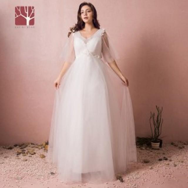 302d086bc533b 大人気 ウェディングドレス 白 二次会 花嫁 大きいサイズ ウェディング 白 ワンピース ドレス ロングドレス 送料無料