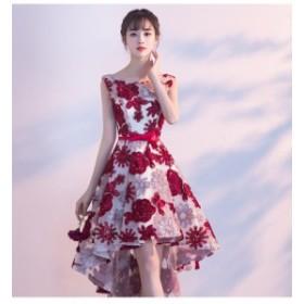 パーティードレス 結婚式 二次会 ワンピース ロング丈 ノースリーブ 20代 レッド 花柄 Xライン フィッシュテール 大人可愛い 韓国