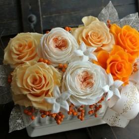 プリザーブドフラワー オレンジローズ 響花