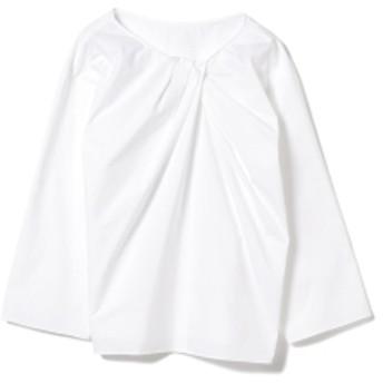 【洗える】Demi-Luxe BEAMS / フロント クロスブロード ブラウス レディース ブラウス・プルオーバー WHITE 36