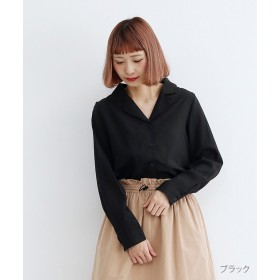 【40%OFF】 メルロー オープンカラーシャツ レディース ブラック FREE 【merlot】 【セール開催中】