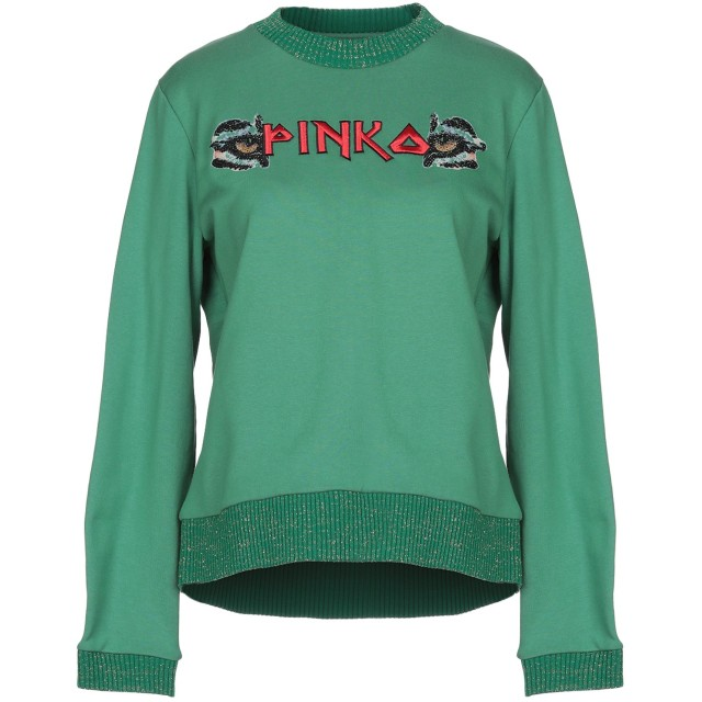 《期間限定 セール開催中》PINKO レディース スウェットシャツ グリーン S ポリエステル 100%