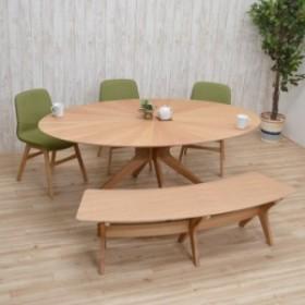 楕円 ダイニングセット 丸テーブル 182cm sbkt182-5-pani339ok 光線張り イス3 ベンチ1 ナチュラルオーク色 GR色 クロス脚 アウトレット