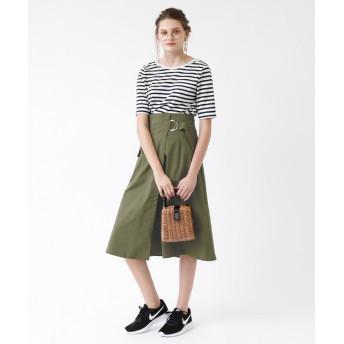 フレアスカート - titivate ポケット付きミリタリーラップスカート/裾の広がったフレアシルエットが女性らしい/ボトムス/レディース/スカート/ラップスカート/ロング丈/ミリタリー/ウエストベルト