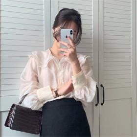 新品/大人気/高品質/韓国ファッション/CHIC気質/おしゃれな/ラペル/フリル/長袖/スリム/シャツ/トップス