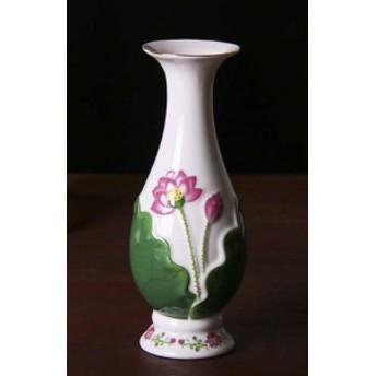 【お取り寄せ】花瓶 フラワーベース 徳利型 蓮の花 グリーン×ピンク 光沢あり (小)