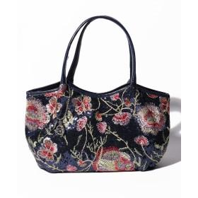 SAVOY サボイ スパンコール花柄刺繍 ハンドバッグ