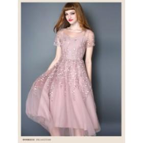 パーティードレス 結婚式 ドレス お呼ばれ ワンピース 二次会 20代 30代 韓国ワンピースドレス 膝丈 膝下 ワンピ