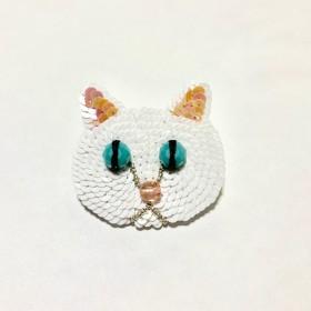 白猫「白ノワール(シロノワール)」ブローチ