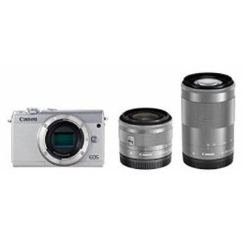 Canon ミラーレス一眼カメラ EOS M100 ダブルズームキット ホワイト EOSM10(中古品)