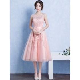 パーティードレス 結婚式 二次会 ワンピース パーティドレス ひざ下丈 ノースリーブ 20代 ピンク 花刺繍 Xライン 刺繍 大人可愛い 韓国
