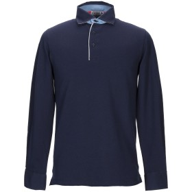 《セール開催中》ANDREA FENZI メンズ ポロシャツ ダークブルー M コットン 95% / ポリウレタン 5%