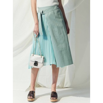 [MERCURYDUO]サイドプリーツイレヘムラップ風スカート