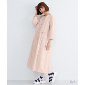 メルロー ウエストギャザーフリルコットンワンピース レディース ピンク FREE 【merlot】