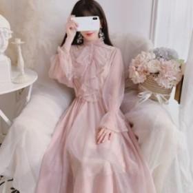 ワンピースドレス メッシュドレス フリル襟 スタンドカラー キャンディスリーブ レトロ 長袖 華やか エレガント フェミニン お呼ばれ