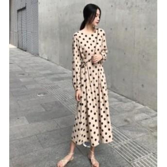 オルチャン 韓国 ファッション ワンピース ドット柄 ミモレ丈 ロング フレア ハイウエスト 長袖 リボン ゆったり レトロ 大人可愛い